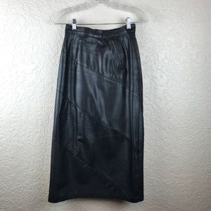 Dresses & Skirts - Black leather long skirt with diagonal stitching